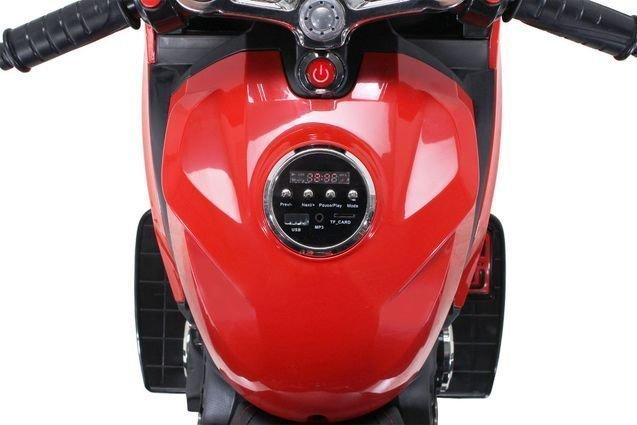 Электромотоцикл Ducati (колеса резина, сиденье кожа, музыка, страховочные колеса)
