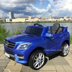 Электромобиль Mercedes-Benz ML350 синий (резиновые колеса, кресло кожа, пульт, музыка)