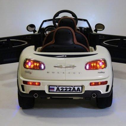 """Детский электромобиль Mini Cooper """"молочный"""" (2х местный, колеса резина, кресло кожа, пульт, музыка)"""